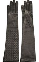 Bottega Veneta Intrecciato Long Leather Gloves - Lyst