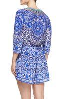 Camilla Silk Short Laceprint Caftan Coverup Jodhpur - Lyst