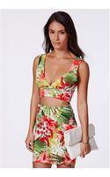 Missguided Arleans Tropical Zip Back Textured Bralet - Lyst