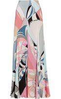 Emilio Pucci Printed Silkcharmeuse Maxi Skirt - Lyst