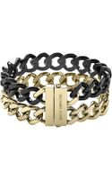 Michael Kors Gold Tone Black Tworow Curb Chain Bracelet - Lyst