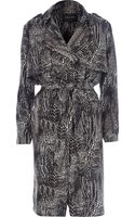 River Island Black Print Crepe Trench Coat - Lyst