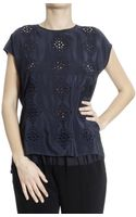 Armani Jeans Top Sleeveless Round-neck Silk Embroidered - Lyst