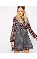 Pepe Jeans Peasant Dress with Contrast Print - Lyst