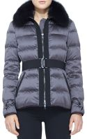 Burberry London Belted Fur Collar Puffer Jacket - Lyst