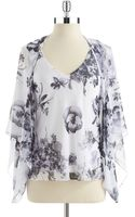 Alex Evenings Twopiece Floral Shawl and Blouse Set - Lyst