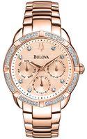 Bulova Ladies Diamondembellished Rose Goldtone Stainless Steel Watch - Lyst