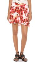 Haute Hippie Short Flirty Floral Skirt - Lyst