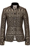 Etro Jacquard Woven Jacket in Goldblack - Lyst