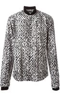 Kris Van Assche Rib Collar Printed Shirt - Lyst