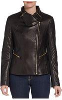 Via Spiga Leather Zip Detail Jacket - Lyst