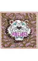 Kenzo New Tigerhead Silk Logo Scarf Olivemulti - Lyst