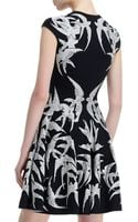 Alexander McQueen Spine Bird Lace Crochet Jacquard Fitandflare Dress - Lyst