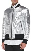 Ovadia And Sons Metallic Leather Bomber Jacket - Lyst