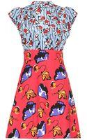 Miu Miu Silkblend Printed Crepe Dress - Lyst
