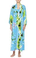 Natori Lana Floral-print Crepe De Chine Wrap Robe - Lyst