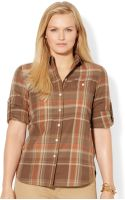 Lauren by Ralph Lauren Plus Size Tabsleeve Plaid Shirt - Lyst