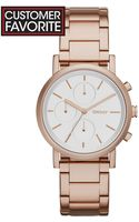 DKNY Womens Chronograph Soho Rose Gold Ion-plated Stainless Steel Bracelet Watch 38mm - Lyst