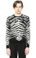 Saint Laurent Tiger Mohair Wool Blend Sweater - Lyst