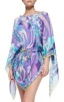 Emilio Pucci Sheer Printed Drawstring Coverup - Lyst