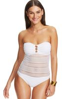 Lauren by Ralph Lauren Beaded Lace Bandeau One-Piece Swimsuit - Lyst