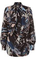 Emilio Pucci Printed Silk Scarf Blouse - Lyst