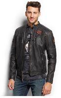 Affliction Washed Leather Biker Jacket - Lyst