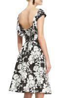 Oscar de la Renta Seamed Capsleeve Floral Dress - Lyst