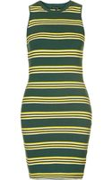Topshop Womens Stripe Ottoman Dress Green - Lyst