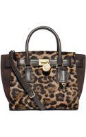 Michael Kors Hamilton Traveler Leopard Hair Calf Medium Satchel - Lyst