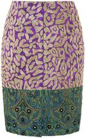 Oscar de la Renta Patchwork Jacquard Embroidered Skirt - Lyst