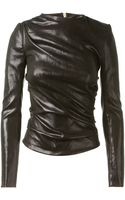 Bouchra Jarrar Black Leather Top - Lyst