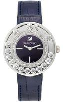 Swarovski Womens Swiss Lovely Crystals Aubergine Calfskin Leather Strap Watch 35mm - Lyst