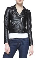 Michael by Michael Kors Cropped Belted Moto Jacket - Lyst