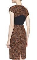 J. Mendel Printed Capsleeve Dress with Solid Back Panel - Lyst