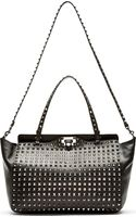 Valentino Black Leather Full Face Rockstud Tote - Lyst