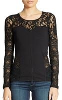 Free People Lace Trimmed Stretch Top - Lyst