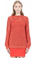 Alexander Wang Nylon Tape Yarn Open Knit Crew Neck Pullover - Lyst