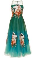 Sachin+babi Botanic Print On Tulle Midi Gown with Applique Florals and Illusion Neckline - Lyst