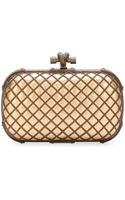 Bottega Veneta Metal Cage Knot Clutch Bag Brownblack - Lyst