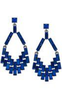 ABS By Allen Schwartz Hematitetone Blue Chandelier Earrings - Lyst