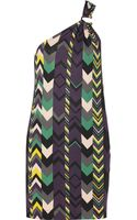 M Missoni One Shoulder Printed Jersey Dress - Lyst
