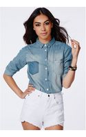 Missguided Rahima Denim Shirt - Lyst