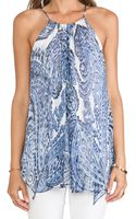 Milly Watercolor Paisley Print Gathered Tank - Lyst