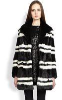 Saint Laurent Striped Rabbit Fur Jacket - Lyst