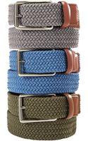 Perry Ellis Webbed Leather Trim Belt - Lyst