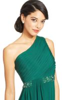 Js Boutique One-shoulder Embellished Ruffle Gown - Lyst