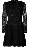 Anna Sui Silk Embroidered Dress - Lyst