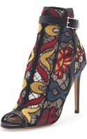 Valentino Embroidered Peeptoe Ankle Boot Black Multi - Lyst