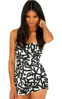 Missguided Leonia Figure Print Bustier Playsuit - Lyst